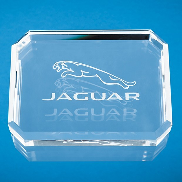 10cm x 7.5cm Optical Crystal Facet Rectangle Paperweight