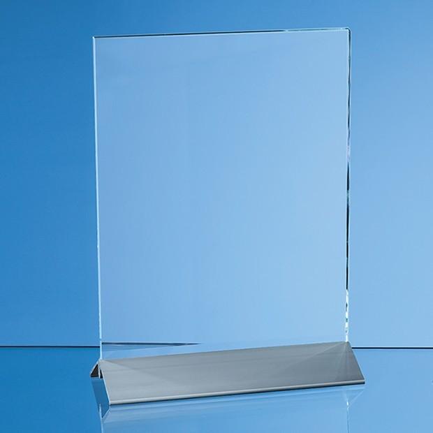 15cm x 10cm x 6mm Clear Glass Rectangle on an Aluminium Base