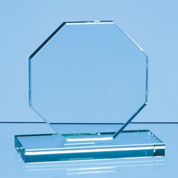 10cm x 12mm Jade Glass Octagon Award