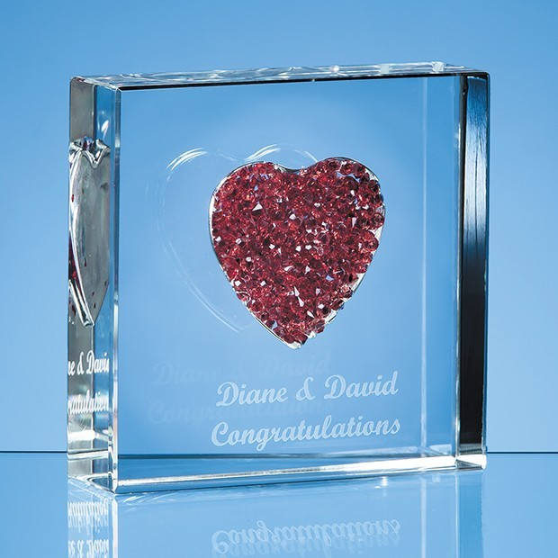 7.5cm Red Diamante Heart Paperweight