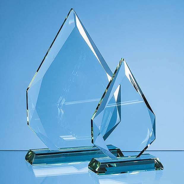 15cm x 19mm Jade Glass Facetted Diamond Peak Award