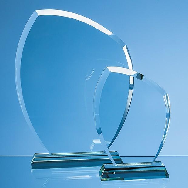 15cm x 12mm Jade Glass Autumn Leaf Award