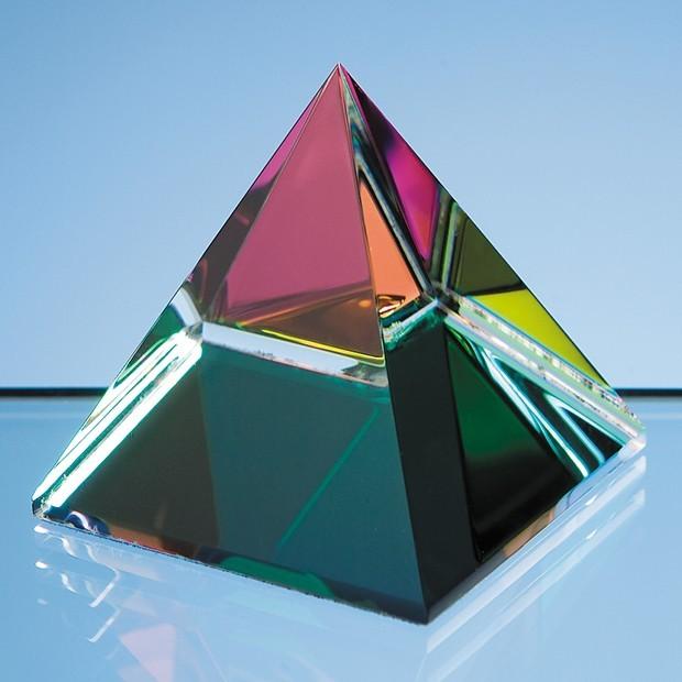 5cm Coloured Optical Crystal 4 Sided Pyramid