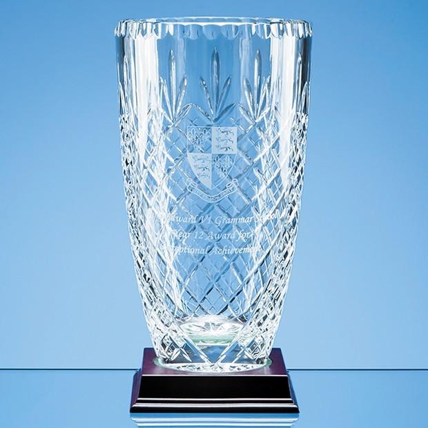 25cm Lead Crystal Panelled Barrel Vase