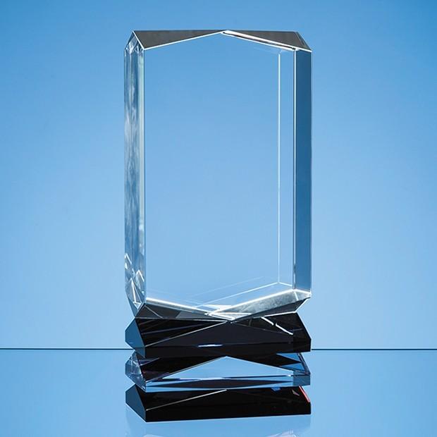 23cm Nik Meller Design Clear Optical Crystal, Cobalt Blue & Red Covet Column Award