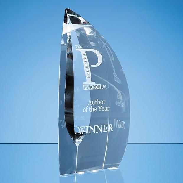 25.5cm Nik Meller Design Clear Optical Crystal Nirvana Oval Award