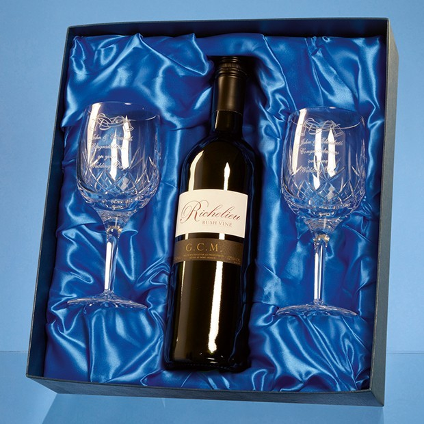Blenheim Double Goblet Gift Set with a 75cl Bottle of Red Wine