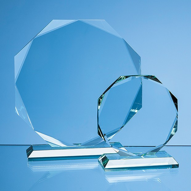 11.5cm x 15mm Jade Glass Facetted Octagon Award