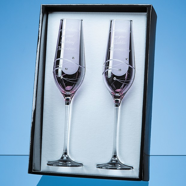 2 Pink Diamante Champagne Flutes with Spiral Design Cutting in an attractive Gift Box
