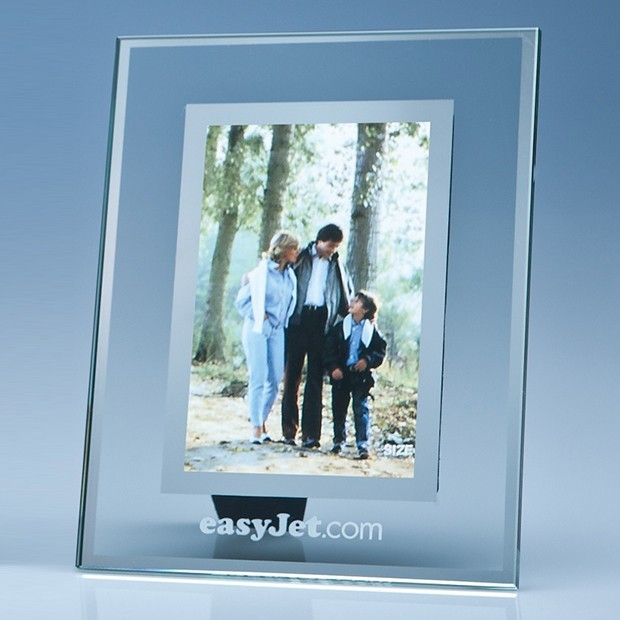 "Clear Glass Frame with Mirror Inlay for 4"" x 6"" Photo, V"