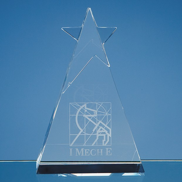 15cm Optical Crystal Star Triangle Award