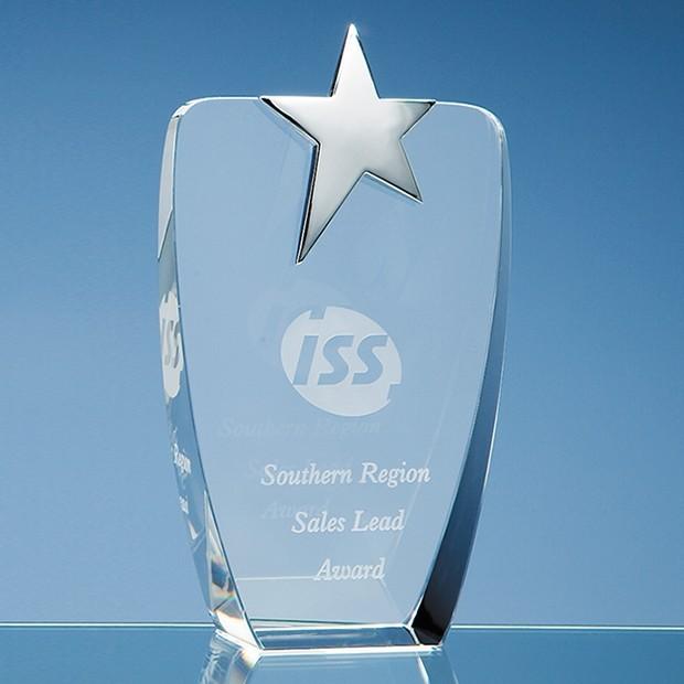 19.5cm Optical Crystal Oval Award with Silver Star