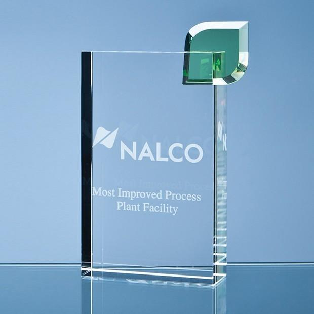 17cm Optical Crystal Single Leaf 'Eco Excellence' Award
