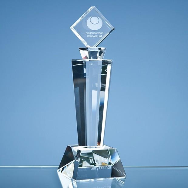 22cm Optical Crystal Mounted Square Award