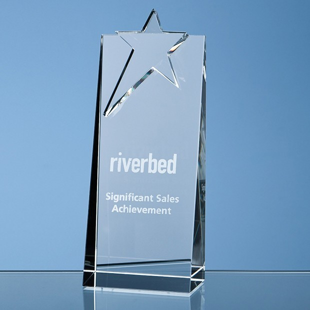 18cm Optical Crystal Star Rectangle Award