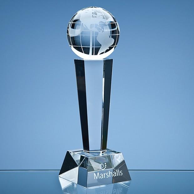 26cm Optical Crystal Facetted Globe Column Award