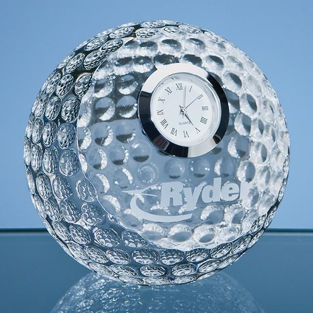 8cm Optical Crystal Golf Ball with Clock