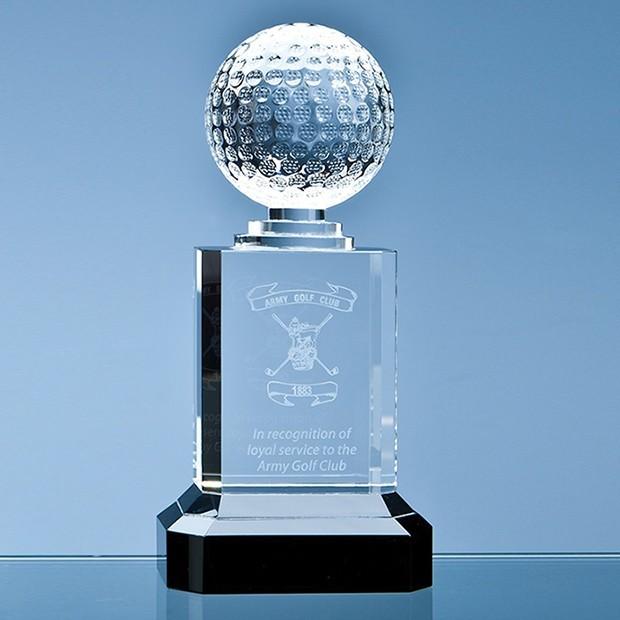 Mounted Optical Crystal Golf Ball Column Award
