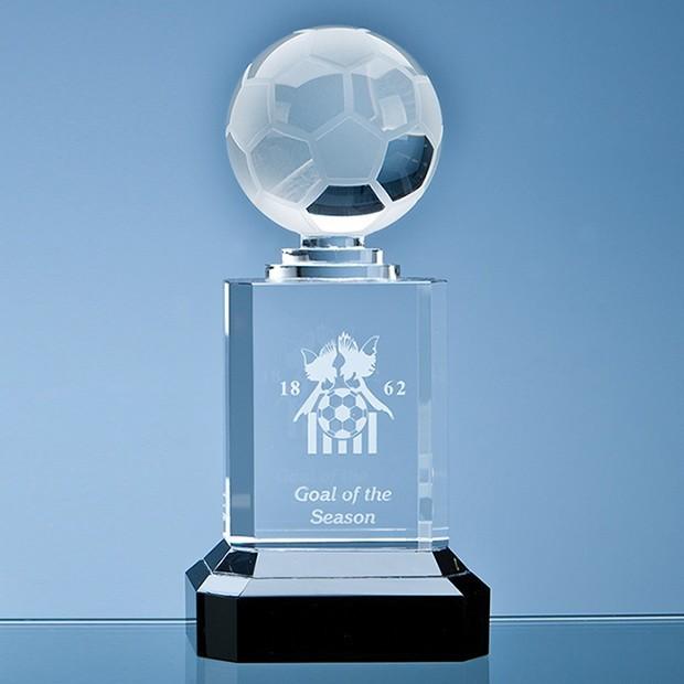 Mounted Optical Crystal Football Column Award