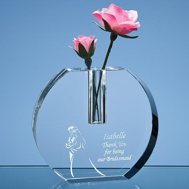 12cm Optical Crystal Round Bud Vase