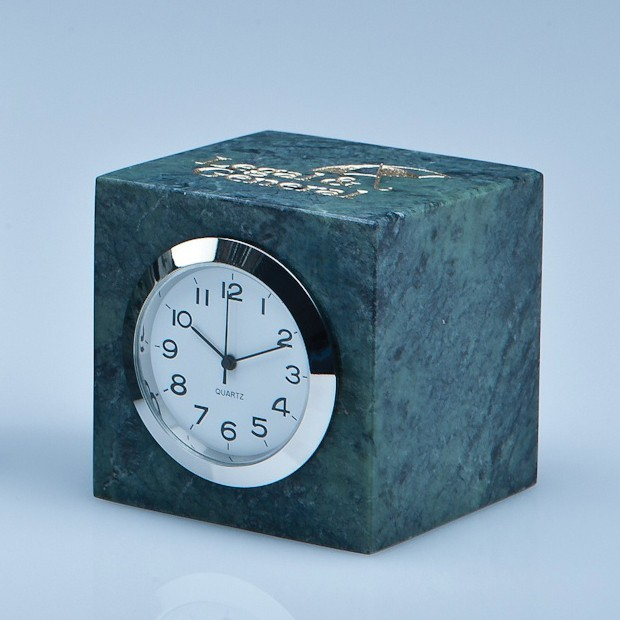 5cm Green Marble Bevel Edged Cube Clock