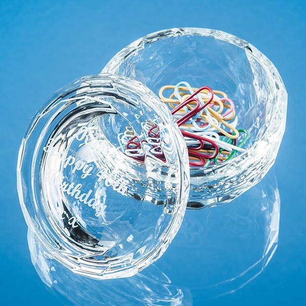 7.5cm Optical Crystal Facet Trinket Dish