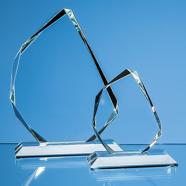 11.5cm x 15mm Clear Glass Facetted Ice Peak Award