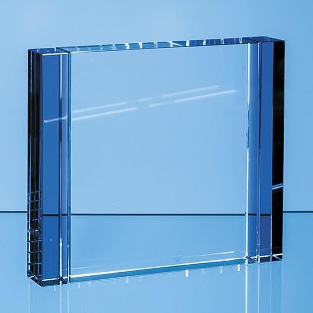 12cm Clear & Sapphire Blue Column Rectangle Award