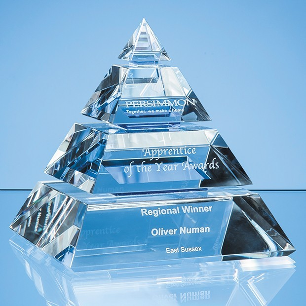 16cm Optical Crystal Luxor Pyramid Award
