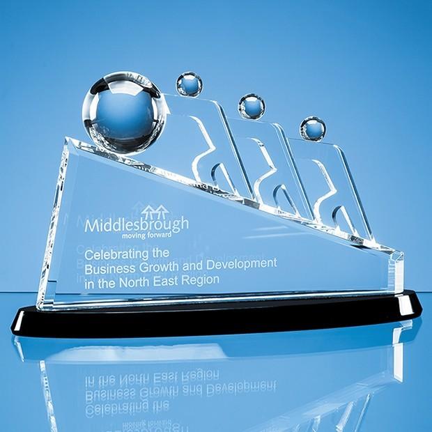 32cm Optical Crystal Slope Teamwork Award