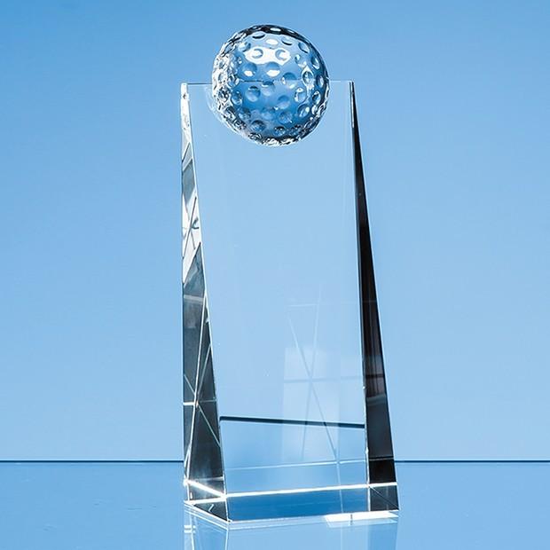 18cm Optical Crystal Golf Ball Rectangle Award