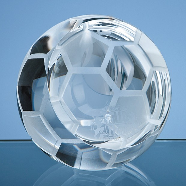 8cm Optical Crystal Football Paperweight