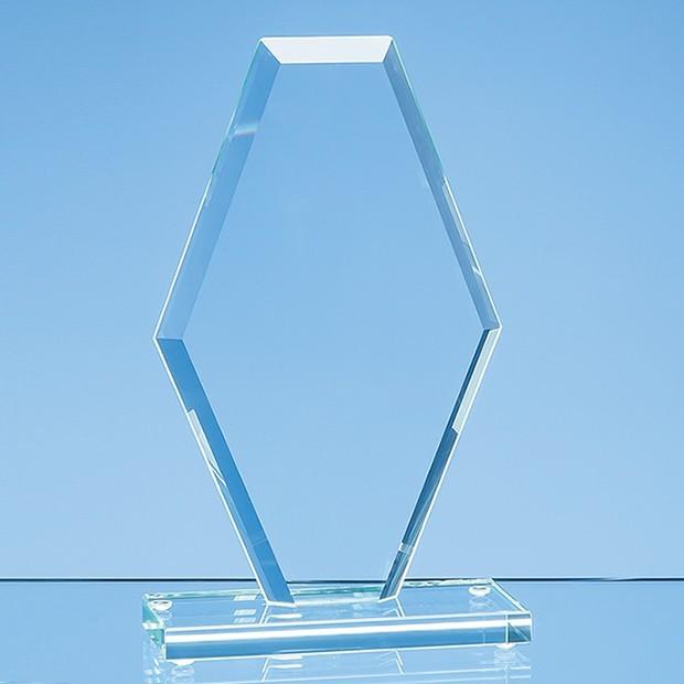 20cm x 12cm x 1cm Jade Glass Facet Clipped Diamond Award