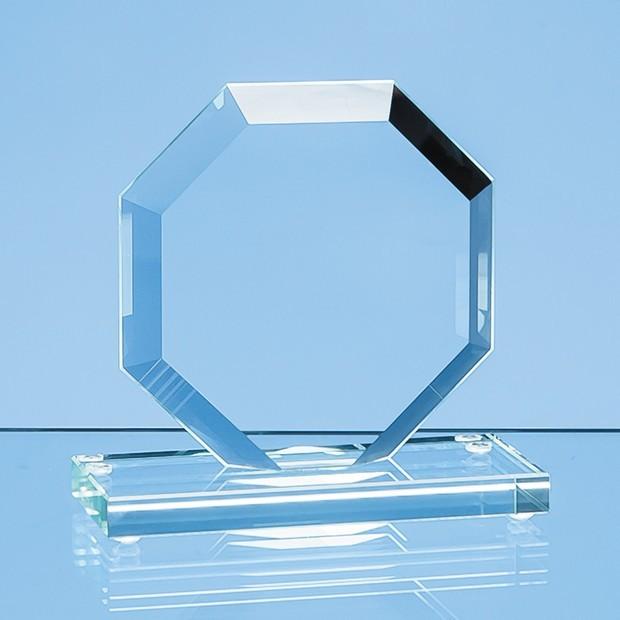 16cm x 17cm x 1cm Jade Glass Facet Octagon Award