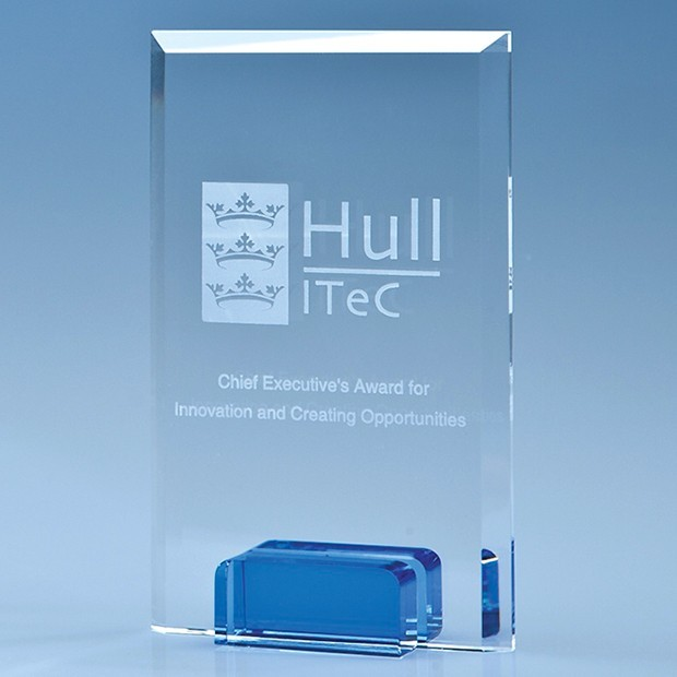 14.5cm Optical Crystal Rectangle with Sapphire Blue Base