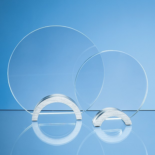 14cm Clear Glass Circle mounted on an Aluminium Base