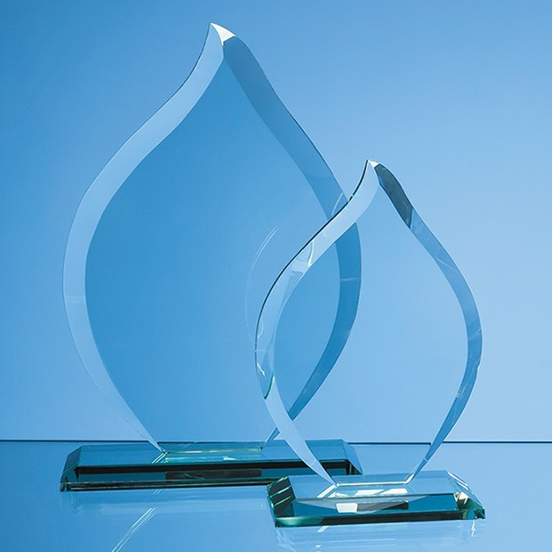16cm x 12mm Jade Glass Flame Award