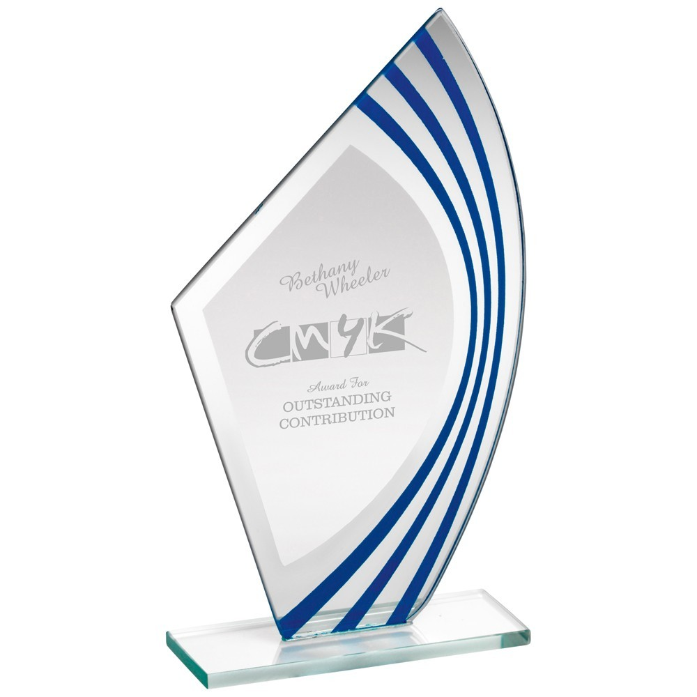 20.5cm Jade Glass Sail Plaque With Blue & Silv Highlights - (5mm Thick)