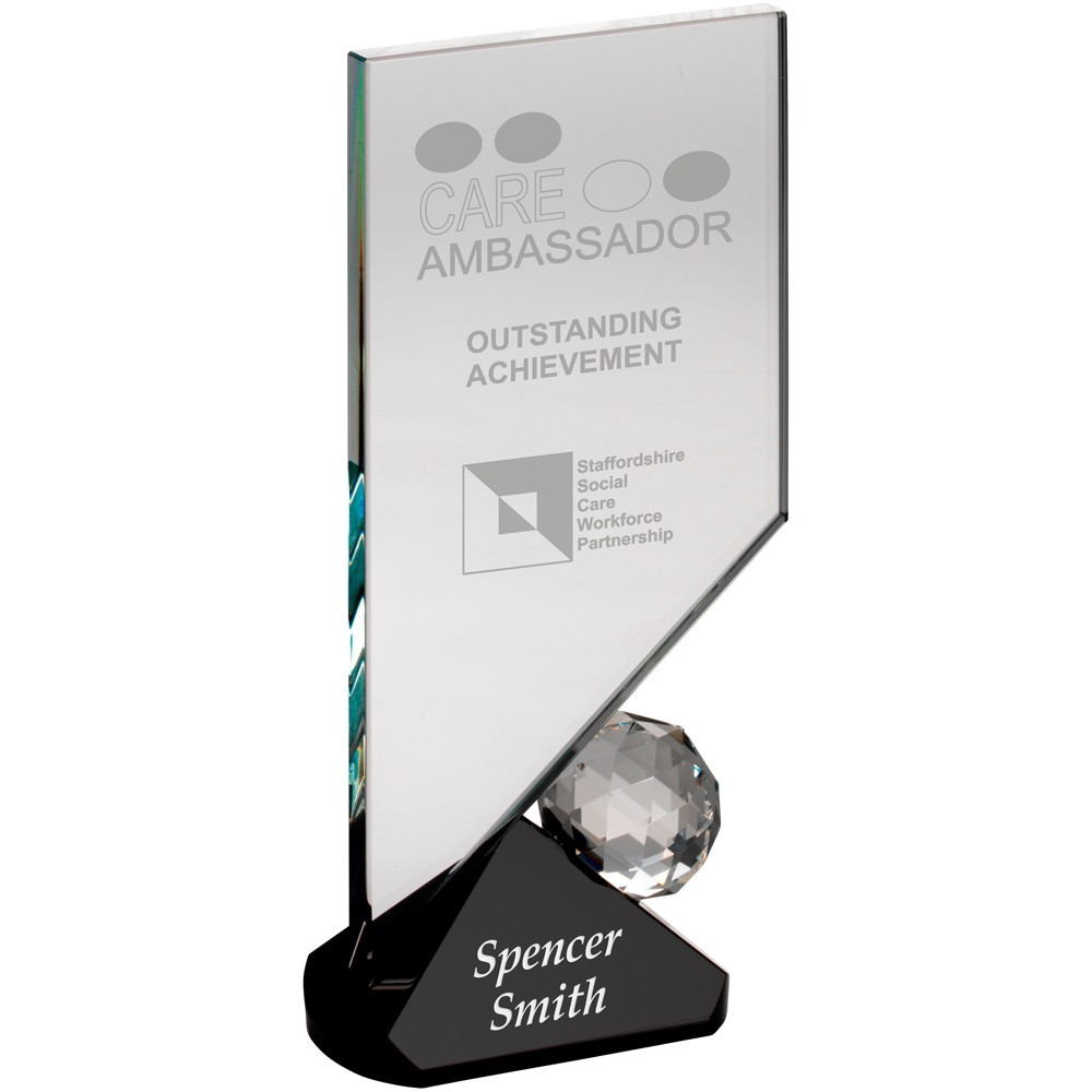 Clear Glass Plaque With Ball On Black Base With Presentation Case