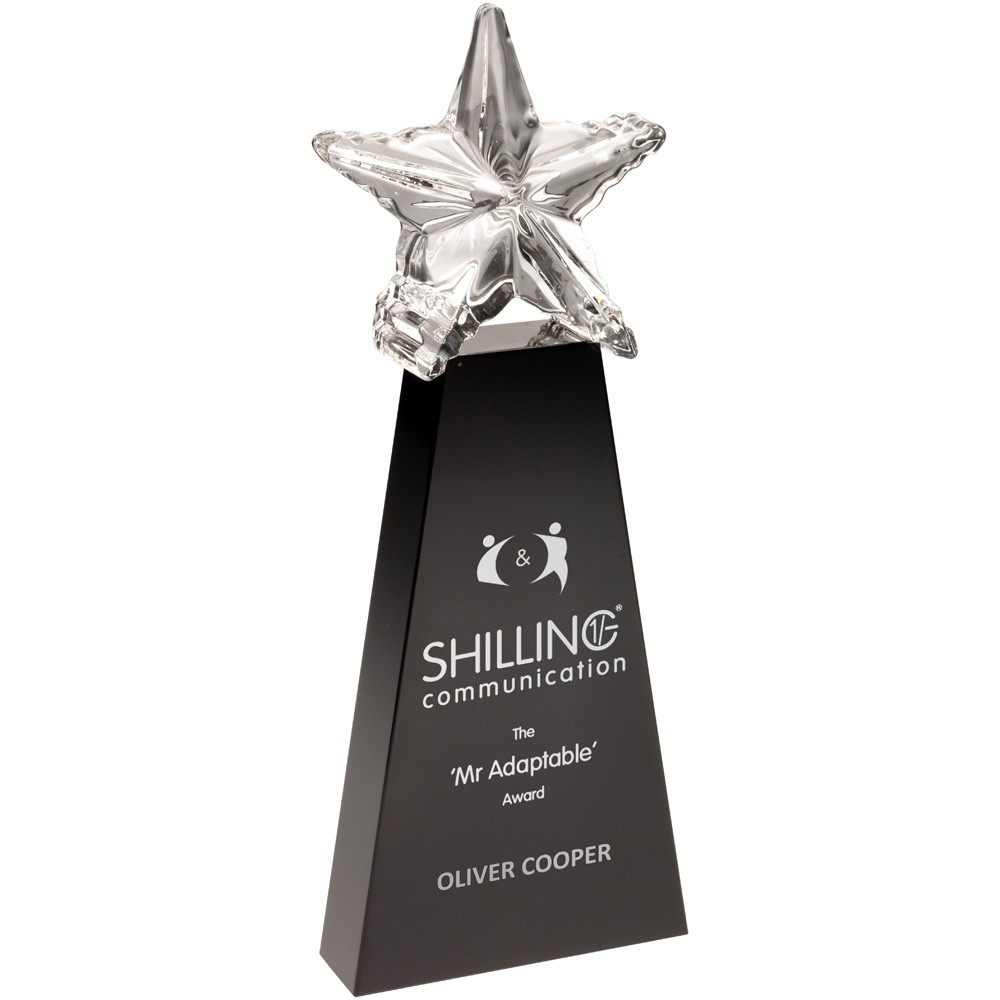 Black Glass Block With Clear Star On Top - 9.5 inch