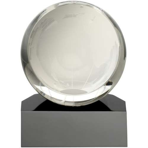 Clear Glass Sliced Globe On Black Base - Available in 2 Sizes