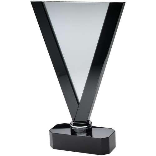 33.5cm Clear/Black Glass Large V-Plaque