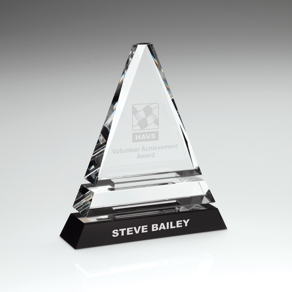 16.5cm Clear Glass Pyramid On Black Base - 6.5In