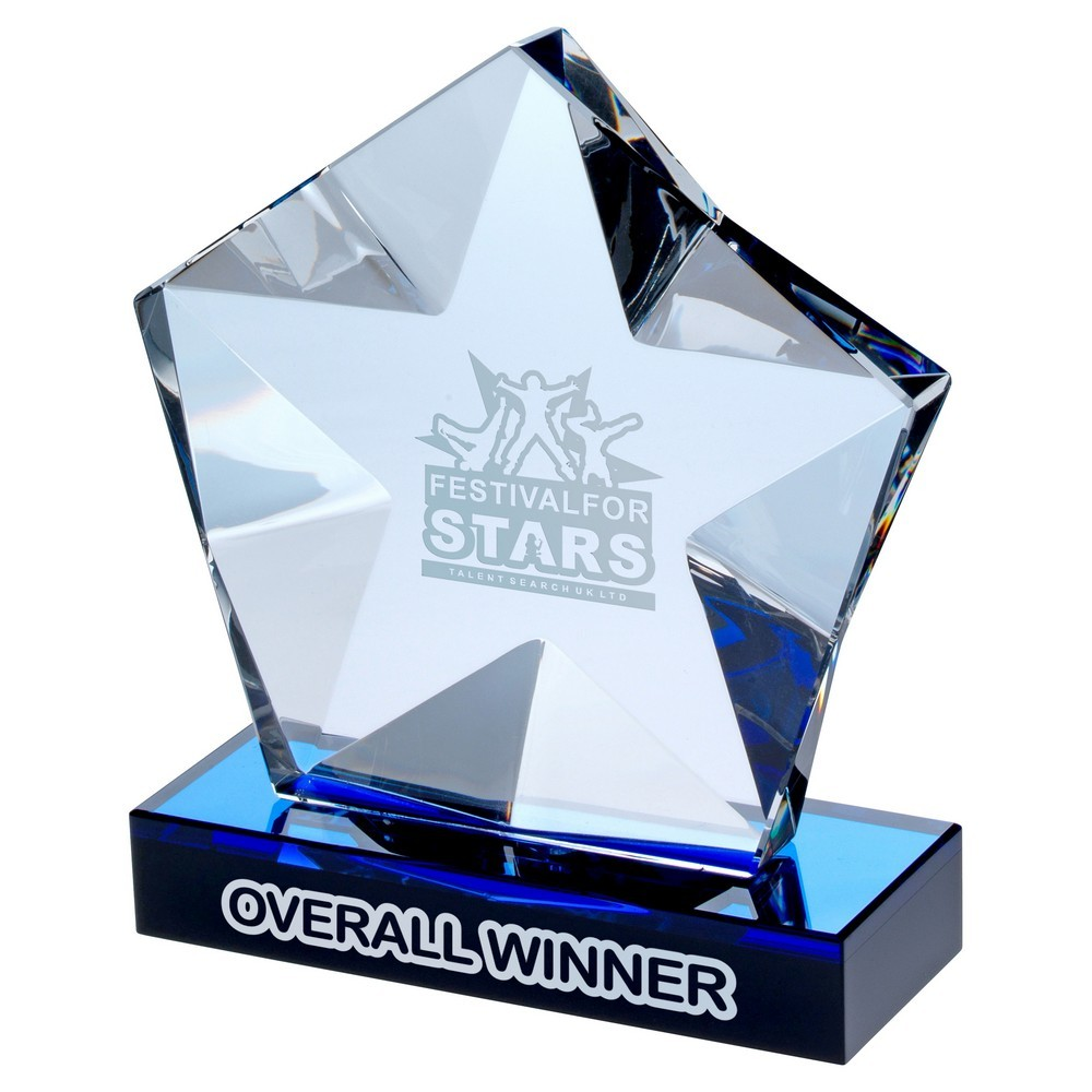 Clear Glass Pentagon Plaque With Star Detail On Black/Blue Base - 5.75inch