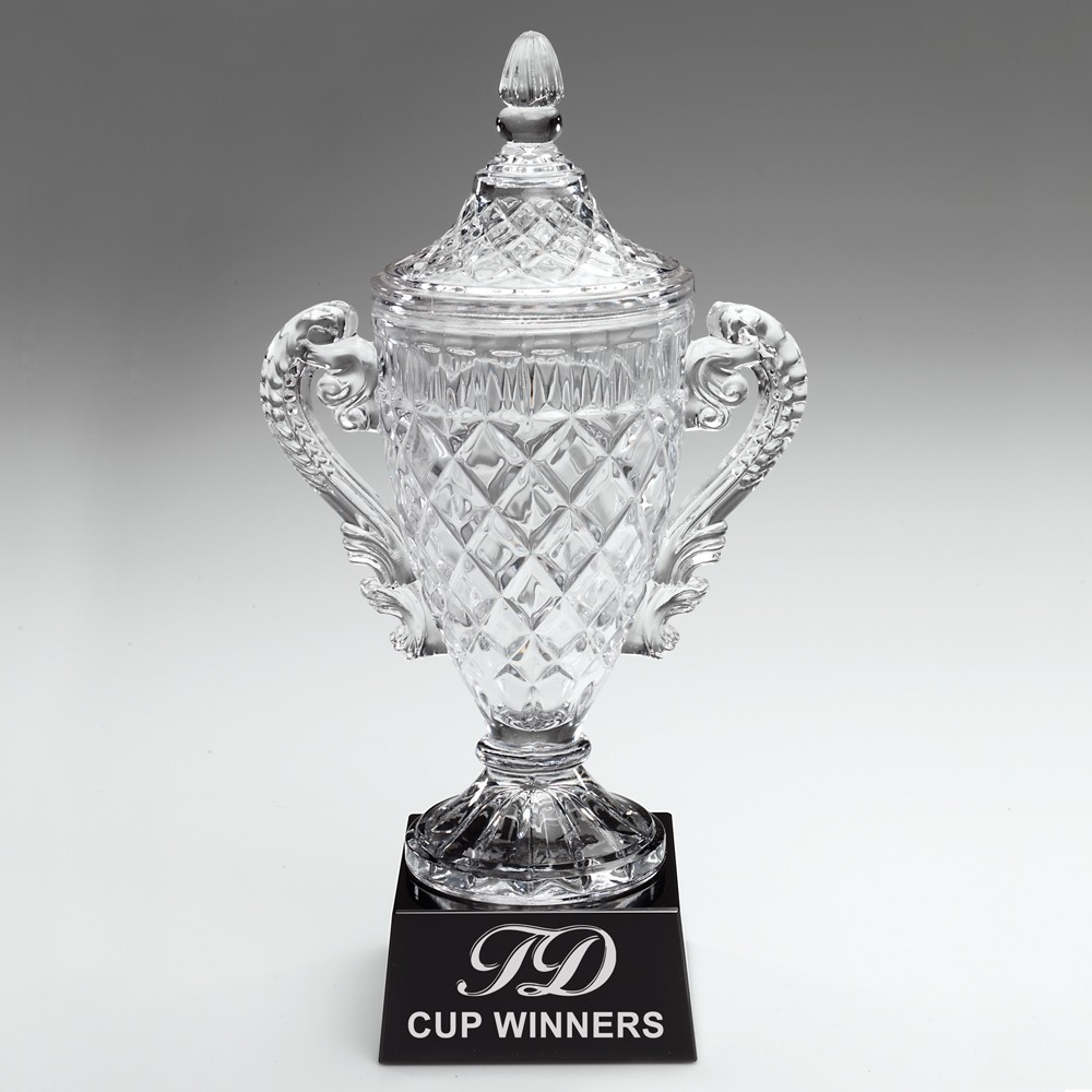 Clear Glass Trophy Cup With Handles With Lid On Black Base