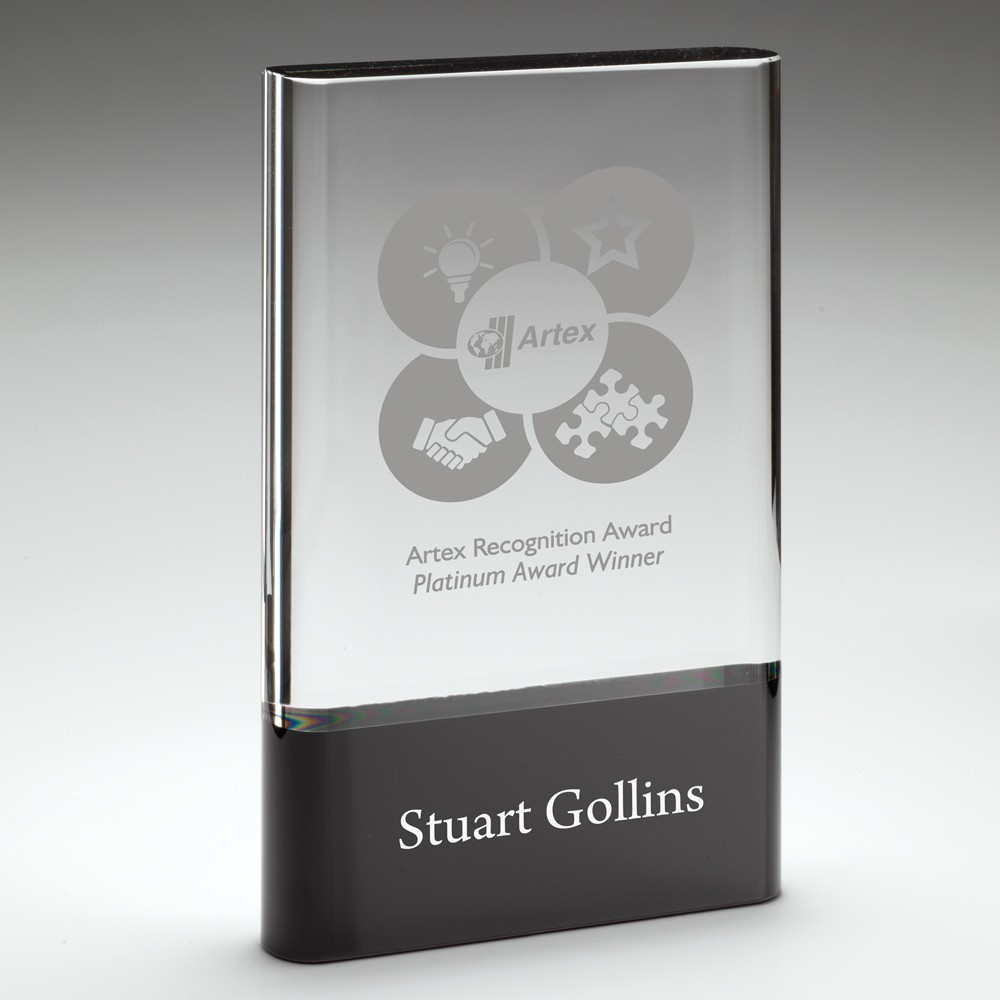 18cm Clear Glass Plaque On Black Base (30mm Thick)
