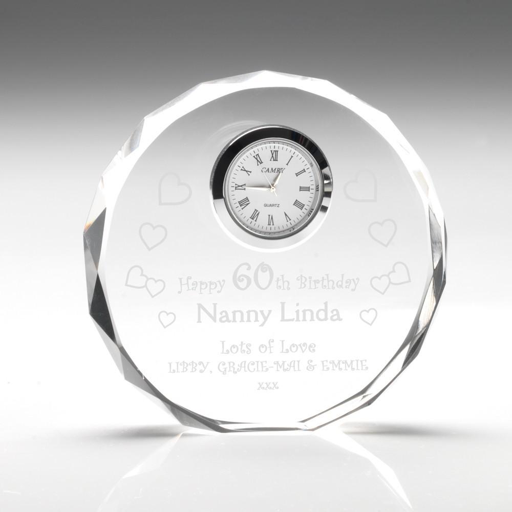 11cm Clear Glass Round Clock