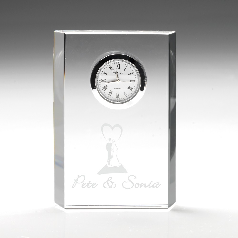 12cm Clear Glass Rectangle Clock