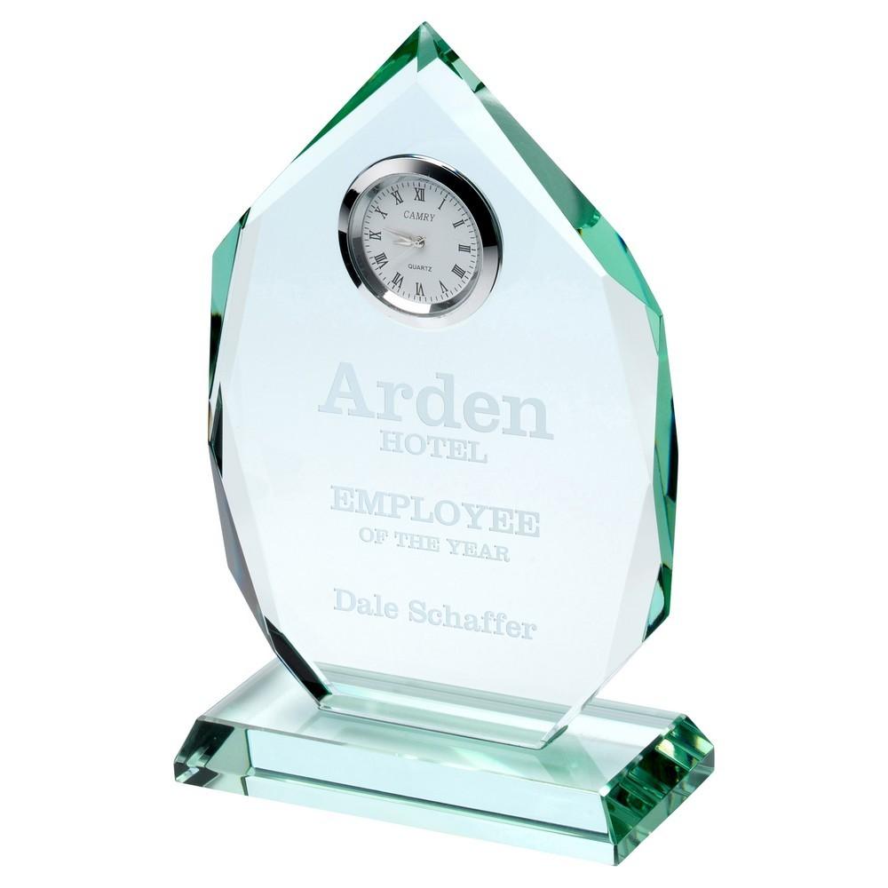 Jade Glass Diamond Plaque With Clock - 6.5inch