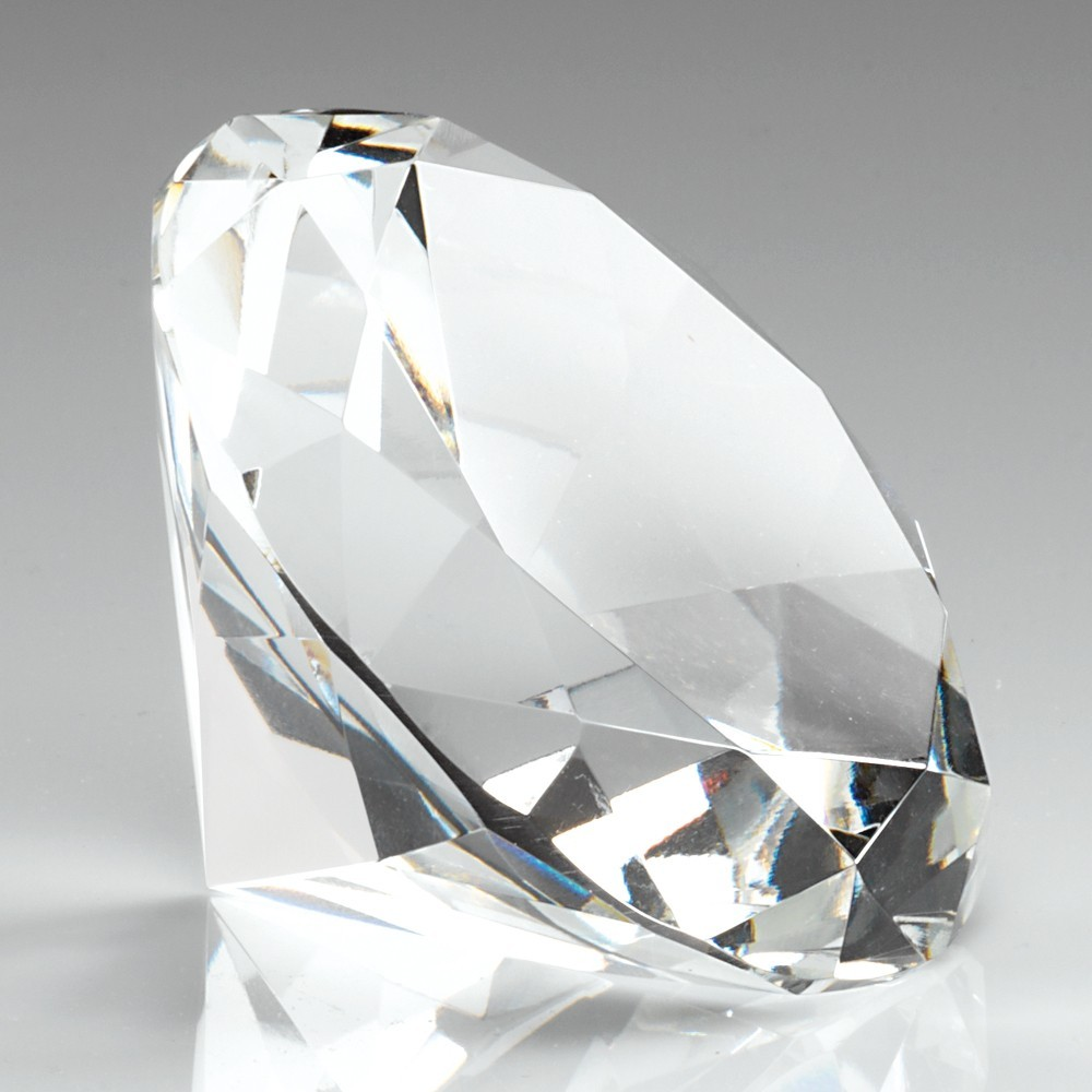 6.5cm Glass Diamond Shaped Paperweight In Box - Clear 2.5In